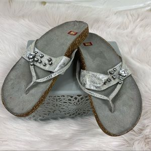 BC Silver Thong Strap Jewel Adorned Sandals